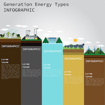 Generation energy types infographic. vektor-illustration