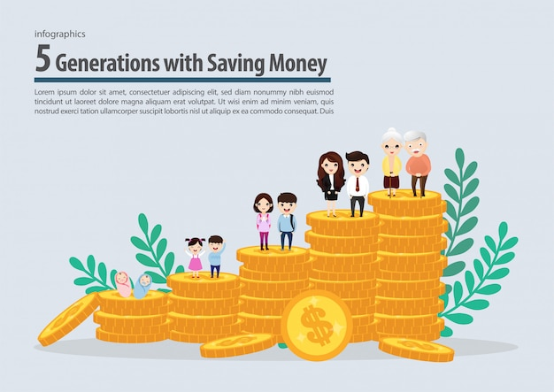 Generation fünf mit dem sparen der geldsammlung infographic. vektor, abbildung.