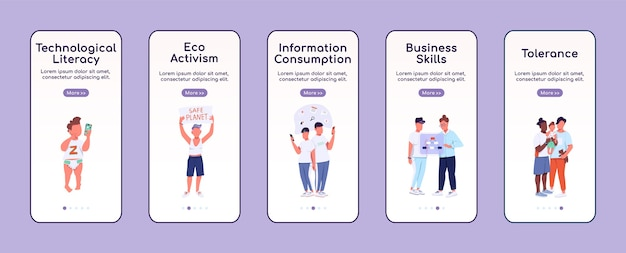 Generation z onboarding mobile app bildschirm flache vorlage. moderne jugend, gen z merkmale walkthrough website schritte mit charakteren. ux, ui, gui smartphone cartoon-oberfläche, falldrucke eingestellt