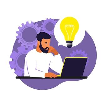 Generierung von geschäftsideen. entwicklung planen. brainstorming-prozess. geschäftsmann, der mit idee glühbirne über seinem kopf sitzt. vektor-illustration. eben