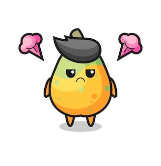 Genervter ausdruck der niedlichen papaya-cartoon-figur, niedliches design für t-shirt, aufkleber, logo-element