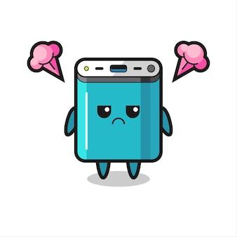 Genervter ausdruck der niedlichen powerbank-cartoon-figur, niedliches design für t-shirt, aufkleber, logo-element
