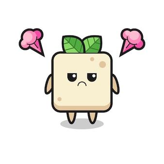 Genervter ausdruck der süßen tofu-cartoon-figur, süßes design für t-shirt, aufkleber, logo-element