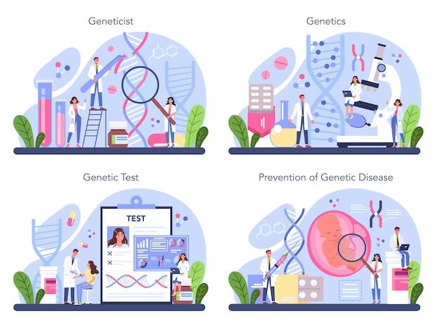 Genetiker-konzeptsatz. medizin und wissenschaftstechnologie. wissenschaftler arbeiten mit molekülstruktur. gentestanalyse und prävention genetischer krankheiten.