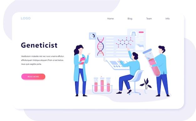 Genetiker web banner konzept. medizin und wissenschaftstechnologie. wissenschaftler arbeiten mit molekülstruktur. illustration