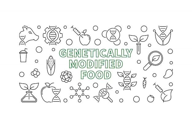 Genetisch geänderte lebensmittellinie horizontale ikonenillustration