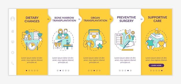 Genetische krankheiten gesundheitswesen onboarding vektorvorlage. responsive mobile website mit symbolen. webseiten-walkthrough-bildschirme in 5 schritten. medizinfarbkonzept mit linearen illustrationen