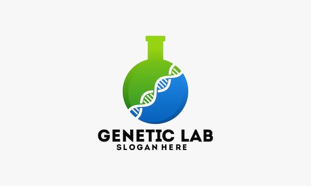 Genetisches labor logo schablonendesign
