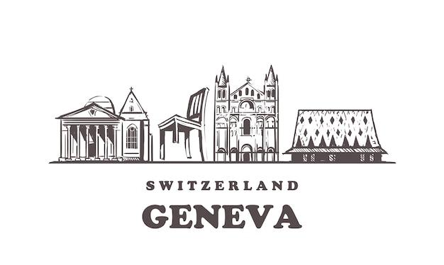Genfer skizze stadtbild lokalisiert auf weiß