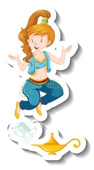 Genie dame kommt aus zauberlampe cartoon charakter sticker