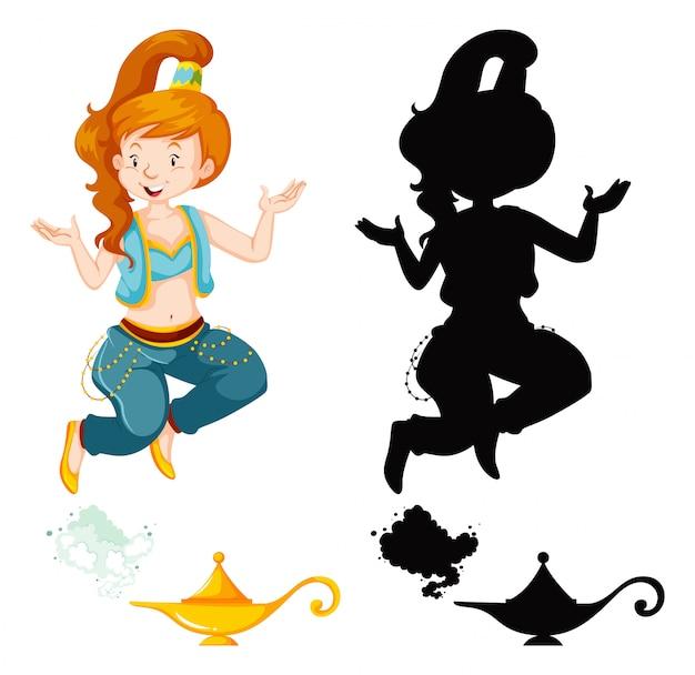 Genie mädchen magische laterne oder aladdin lampe in farbe und silhouette lokalisiert auf weißem hintergrund