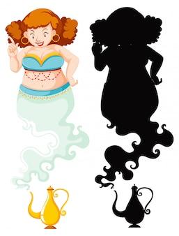 Genie mädchen mit genie lampe in farbe und silhouette lokalisiert auf weißem hintergrund