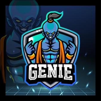 Genie maskottchen esport logo-design