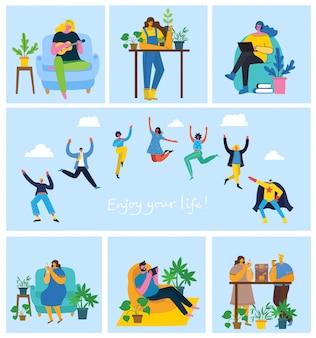 Geniesse dein leben. konzept der jungen leute, die auf blauem hintergrund springen und den kaffee genießen, gitarre spielen, yoga machen und zeit im park im flachen design verbringen