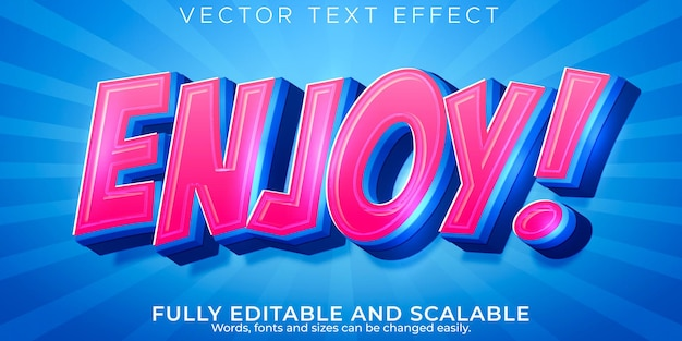 Genießen sie cartoon-texteffekt, bearbeitbare comics und lustigen textstil Premium Vektoren