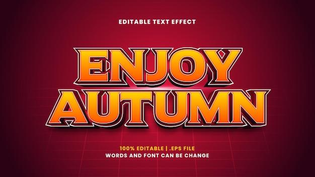 Genießen sie den bearbeitbaren texteffekt im herbst im modernen 3d-stil
