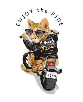 Genießen sie den fahrslogan mit der süßen katze in der sonnenbrille, die motorradillustration fährt