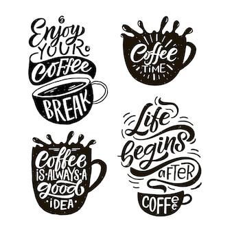 Genießen sie die kaffeepause schriftzug coffee to go tasse moderne kalligraphie kaffeezitat handskizze