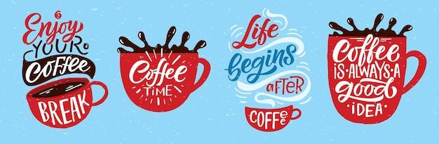 Genießen sie die kaffeepause schriftzug coffee to go tasse modernes kalligraphie-kaffee-zitat handskizzierte inspiration