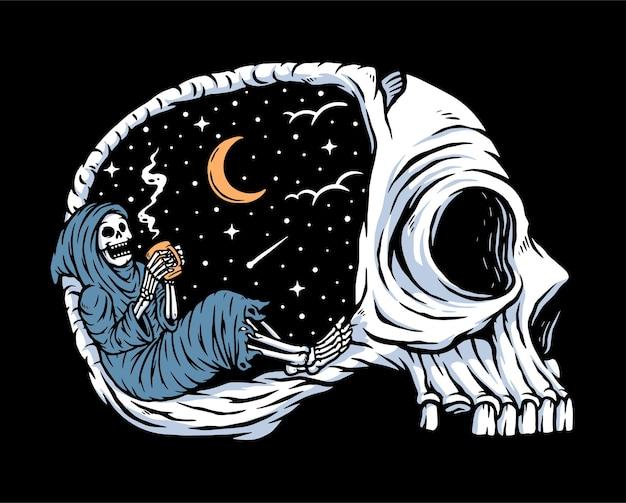 Genießen sie die nacht beim kaffeetrinken