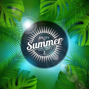 Genießen sie die sommerferien-illustration mit tropischen pflanzen