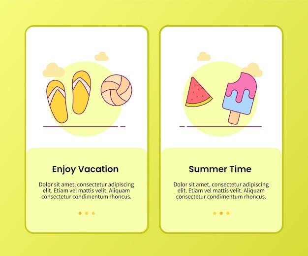 Genießen sie die sommerzeitkampagne für die onboarding-vorlage für mobile apps