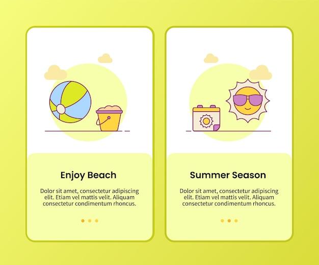 Genießen sie die strand-sommersaison-kampagne für das onboarding der anwendungsvorlage für mobile apps apps
