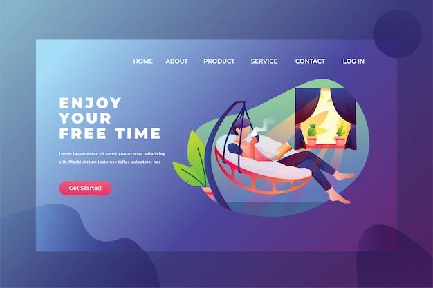 Genießen sie freizeit mit lese- und kaffee-webseiten-titel-landing page template illustration