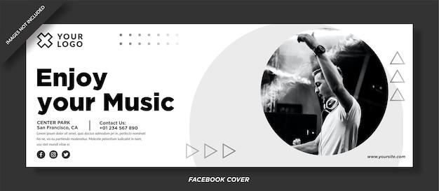 Genießen sie ihr musikereignis facebook cover vektor