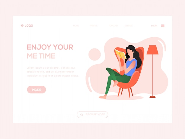 Genießen sie ihre mich zeit web-illustration