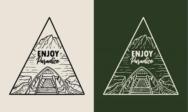 Genießen sie paradise monoline abzeichen illustration