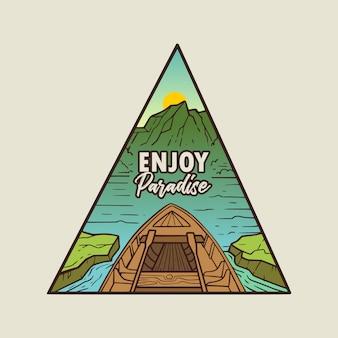 Genießen sie paradise monoline abzeichen premium illustration