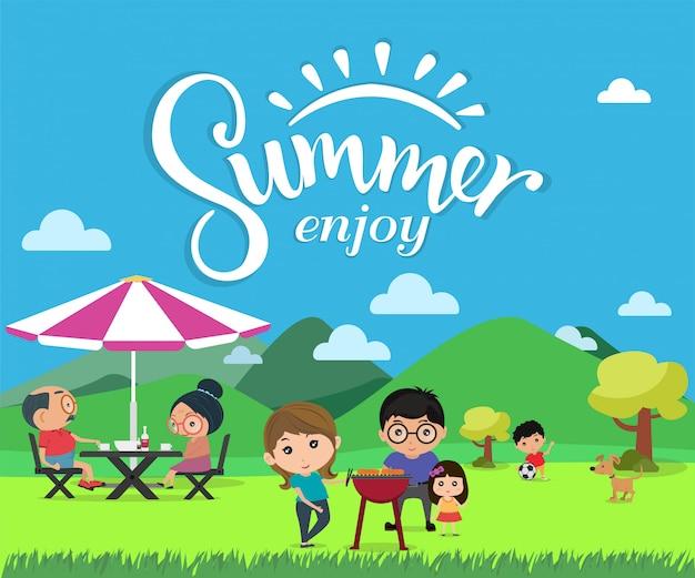 Genießen sie sommer, glückliches familienpicknick in der modernen flachen artvektorillustration im freien.