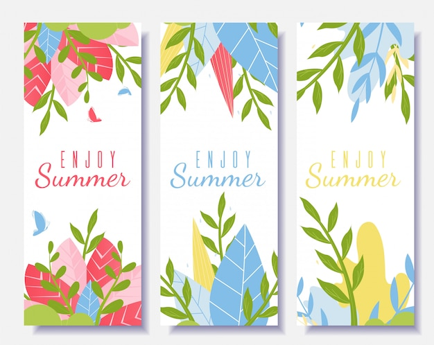 Genießen sie sommer motivation flyer set im cartoon-stil
