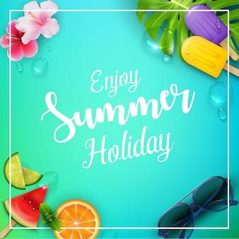 Genießen sie sommerferien poster-design