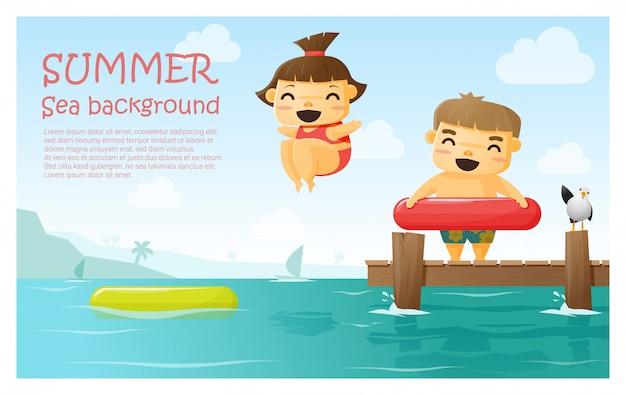 Genießen sie tropischen sommerferien hintergrund
