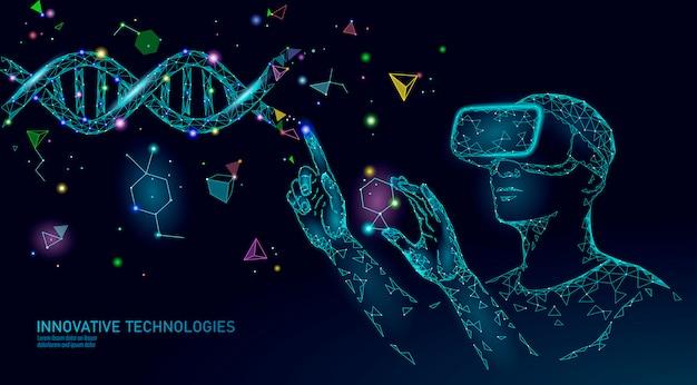 Genmodifizierendes konzept der wissenschaftsbiologie. vr-headset holographische projektion virtual-reality-brille.