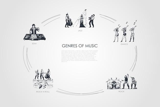Genres der musik handgezeichneten cicle
