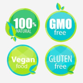 Gentechnikfrei, 100 natutal, vegan food und gluten label set
