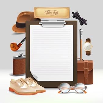 Gentleman accessories realistischer rahmen