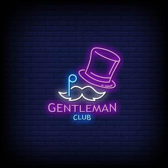 Gentleman club logo leuchtreklamen stil text