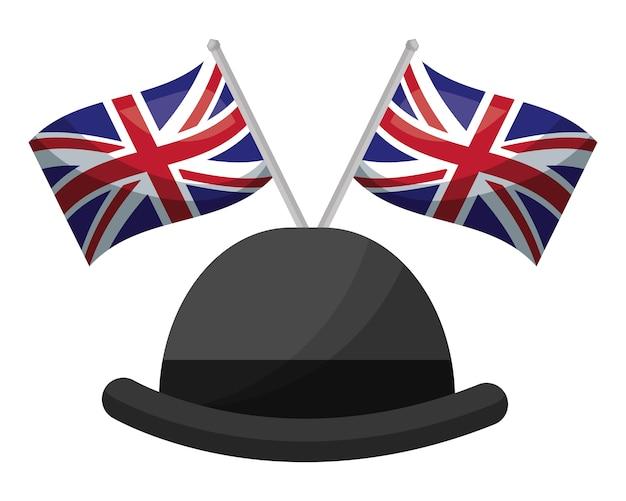 Gentleman hut mit flaggen von großbritannien