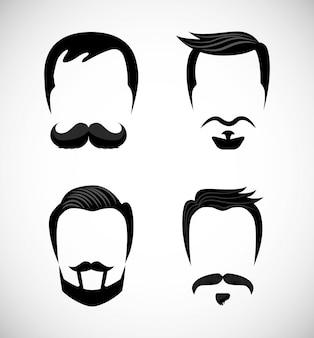 Gentleman icons mit schnurrbart