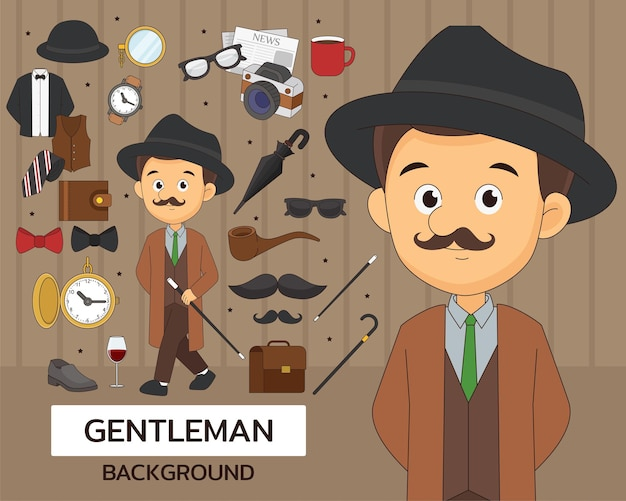 Gentleman-konzept-hintergrund. flache symbole.