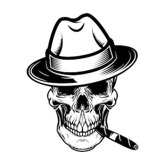 Gentleman schädel mit zigarre