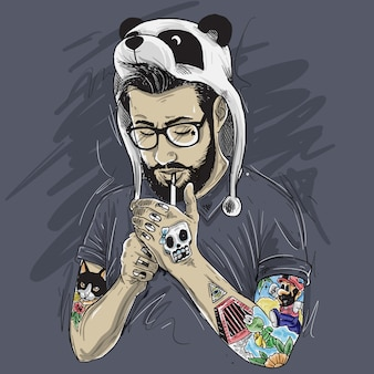 Gentleman tattooed bearded smoked panda hat