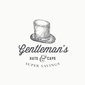 Gentlemans top hat abstrakte zeichen-, symbol- oder logo-vorlage.