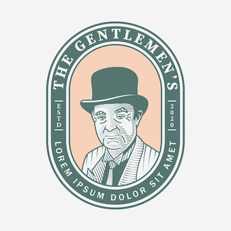 Gentlemen vintage logo hand gezeichnet