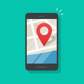 Geo-standort des handys auf flacher karikatur des smartphone-gps-navigatorstadtplan-vektors