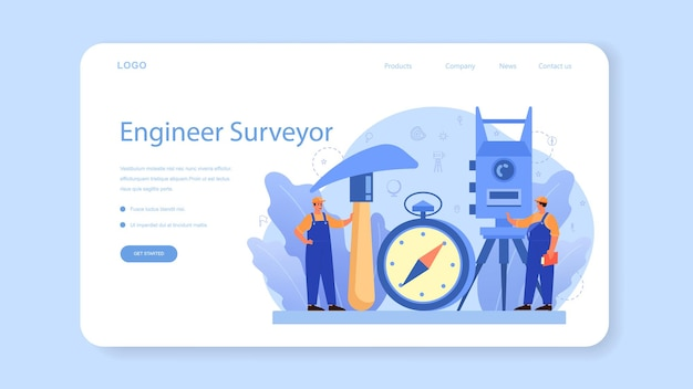 Geodesy science web banner oder landing page